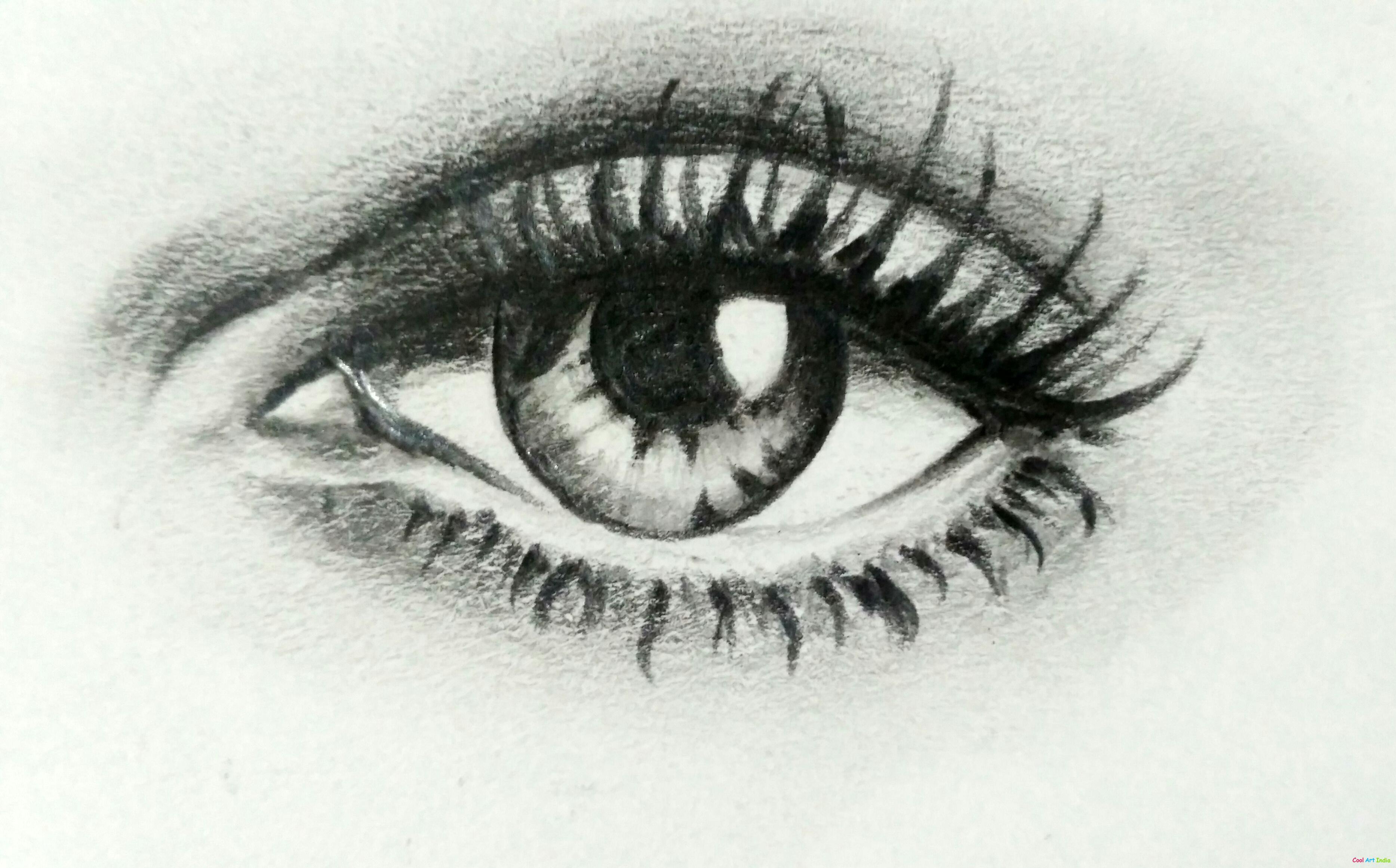 Art sketch of eye by Sejal: Cool Art India