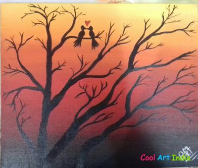 Love birds canvas painting