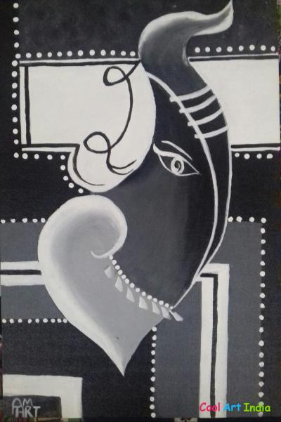 Modern art Ganesha canvas painting
