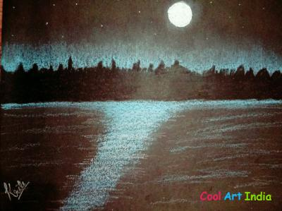 Night sea site scene