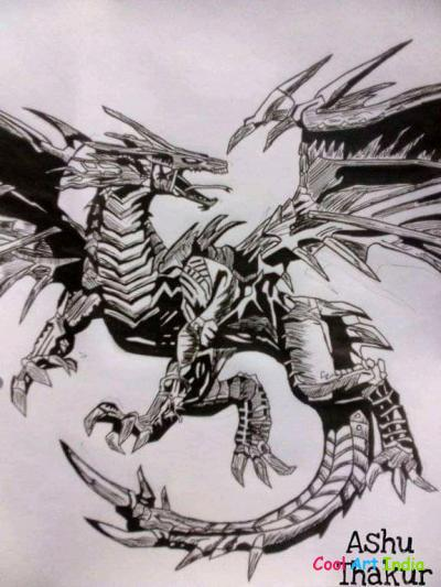 Dragon Black Pen Art