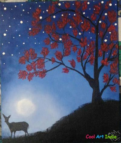 Night sky canvas painting