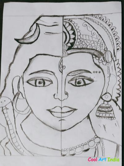 Half drawing of lord shanker and parvati mataa