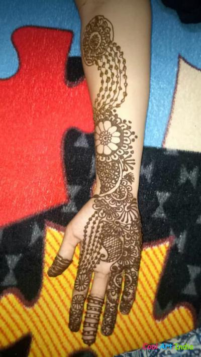 Flower design full hand Mehandi