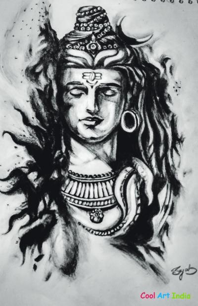charcol art of lord shiv