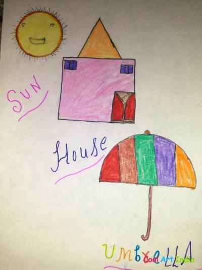 sun, house, umbrella