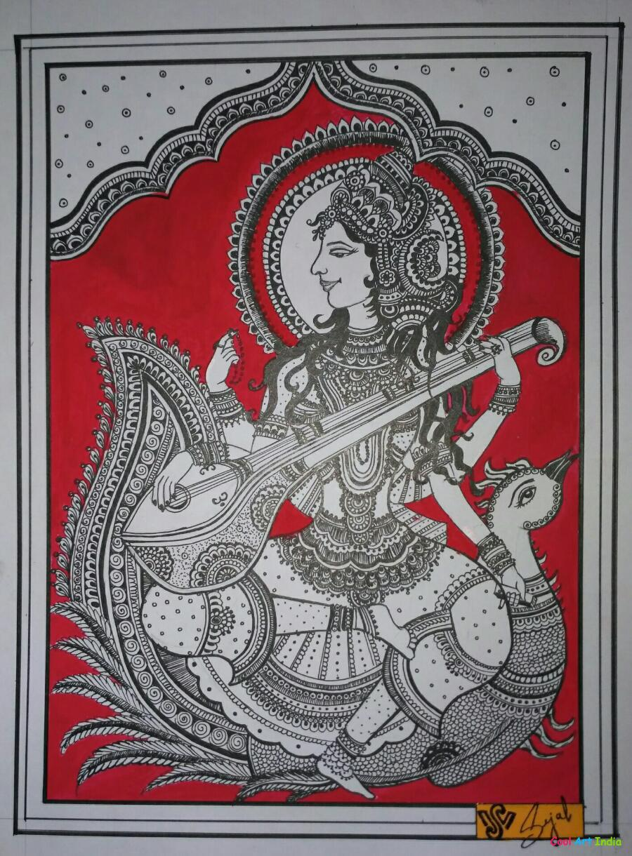Madhubani painting of goddess Saraswati